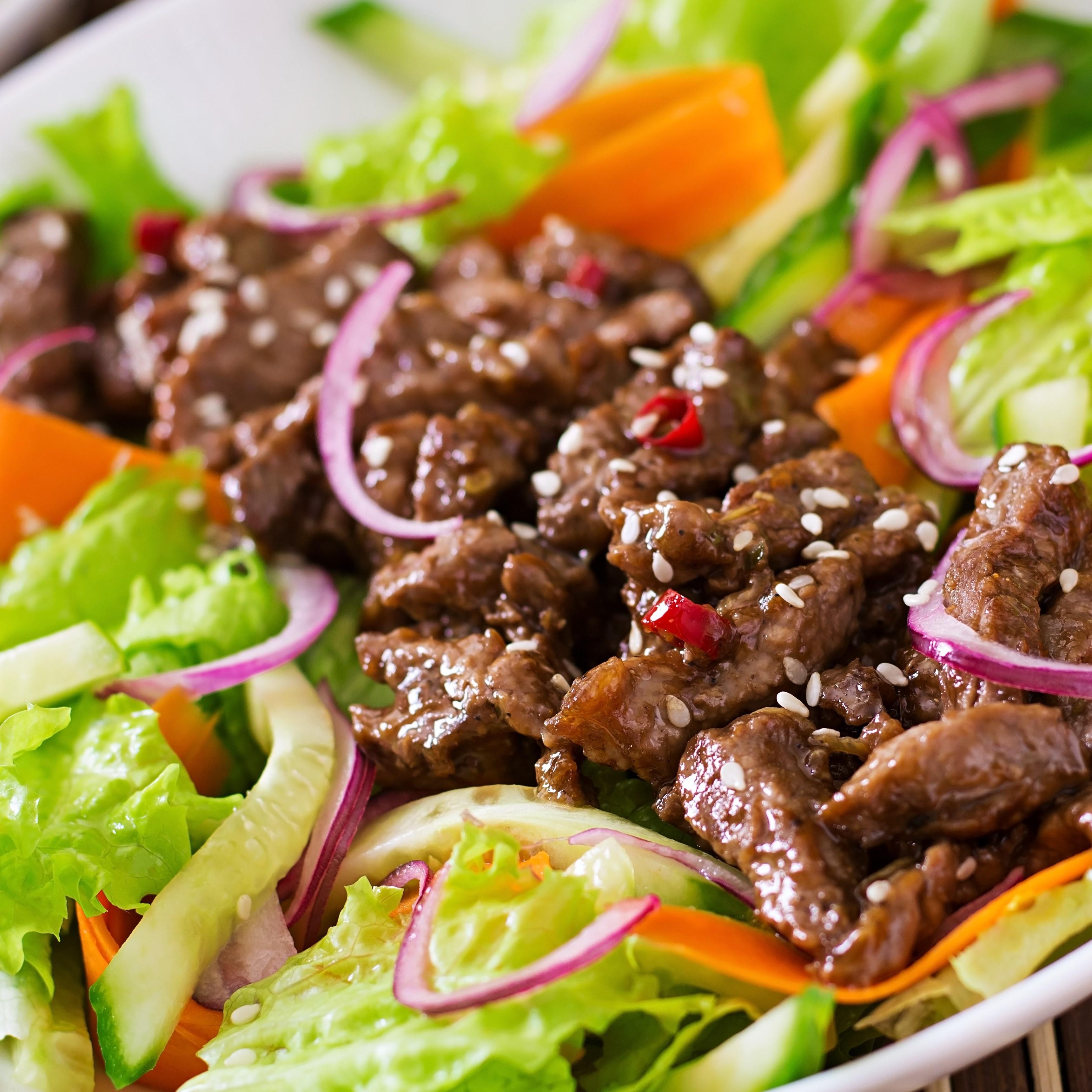 Beef Teriyaki  maaltijd salade met verse groenten